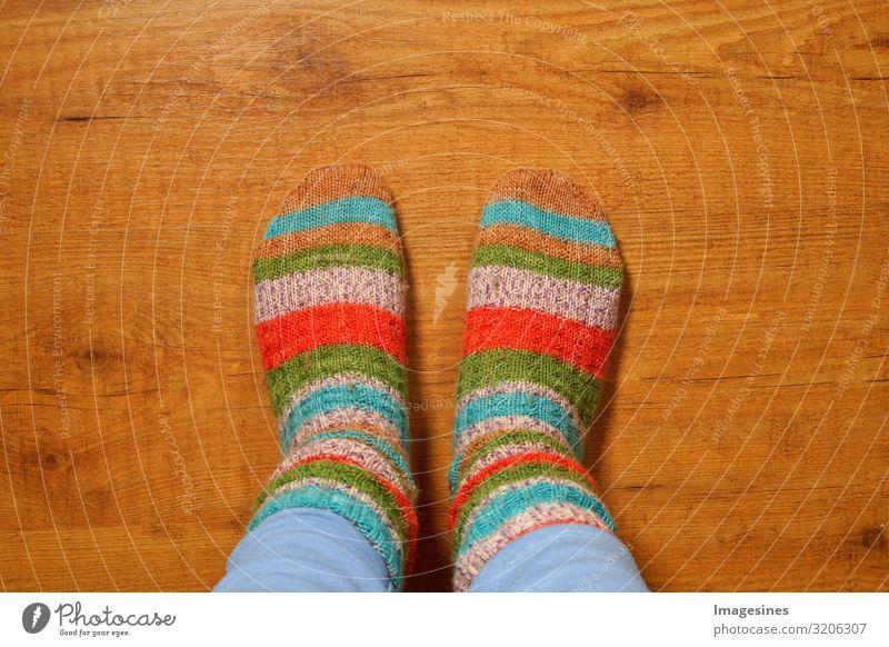 Wollsocken Lifestyle Häusliches Leben Wohnung Mensch feminin Frau Erwachsene Beine Fuß 1 Mode Strümpfe Stricksocken gestrickt kuschlig Wärme mehrfarbig