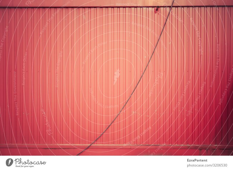 ) Metall Linie Streifen rot Design Energie Farbe Kabel Container minimalistisch einfach simpel hängen hängend Trapezblech Farbfoto Außenaufnahme abstrakt Muster