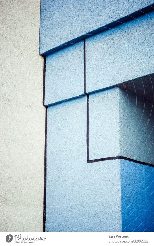 Eck Haus Bauwerk Gebäude Architektur Mauer Wand Fassade Dekoration & Verzierung Linie Streifen blau grau ästhetisch Design Ecke Putzfassade