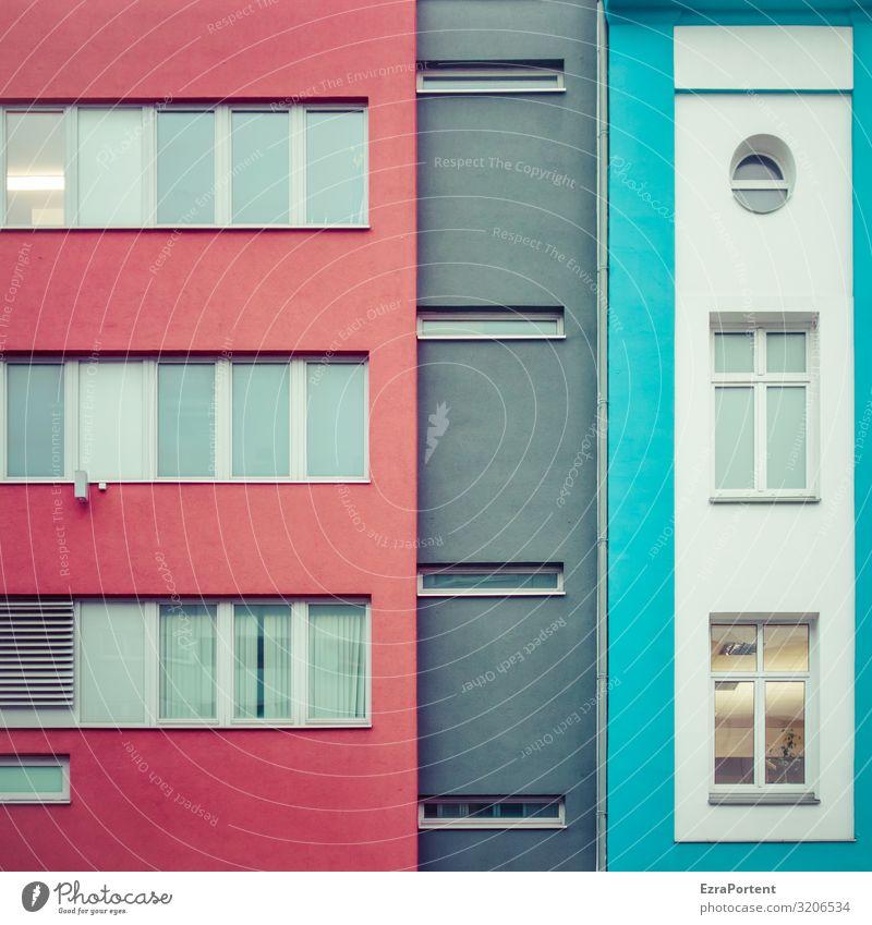 ||| blau Farbe rot Haus Fenster Architektur Wand Gebäude Mauer Fassade grau Design Linie modern Glas rund