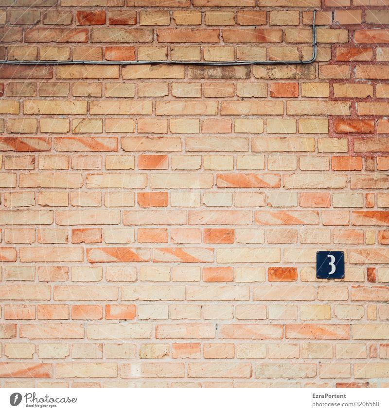 3 Haus Bauwerk Gebäude Architektur Mauer Wand Fassade Stein Backstein Zeichen Ziffern & Zahlen Schilder & Markierungen braun rot Linie Fuge Geburtstag Jubiläum