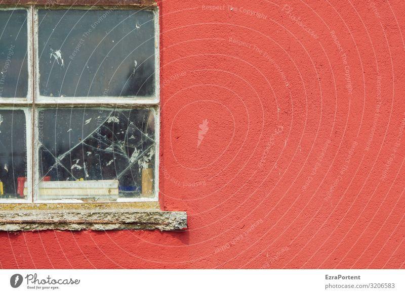 Fenster Haus Bauwerk Gebäude Architektur Mauer Wand Fassade Glas Linie rot Werkstatt Putzfassade Farbfoto Außenaufnahme Menschenleer Textfreiraum rechts