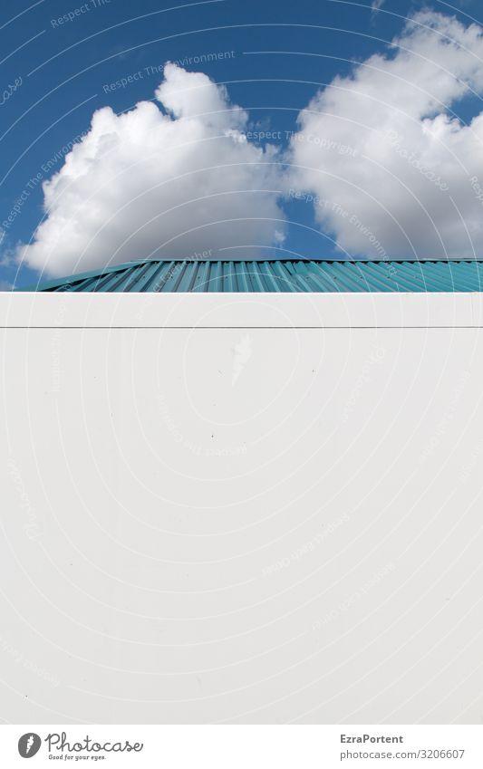 bewölkter Textfreiraum Himmel Wolken Schönes Wetter Haus Bauwerk Gebäude Architektur Mauer Wand Fassade Metall Stahl Linie hell blau weiß Farbfoto Außenaufnahme