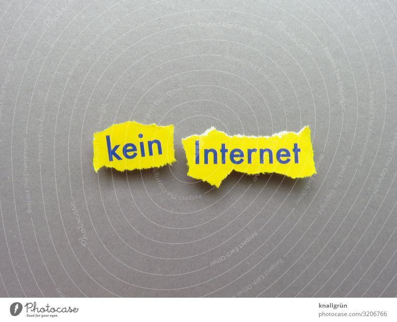 kein Internet Schriftzeichen Schilder & Markierungen Kommunizieren kaputt gelb grau Ärger Frustration Netzwerk offline Störung Farbfoto Studioaufnahme
