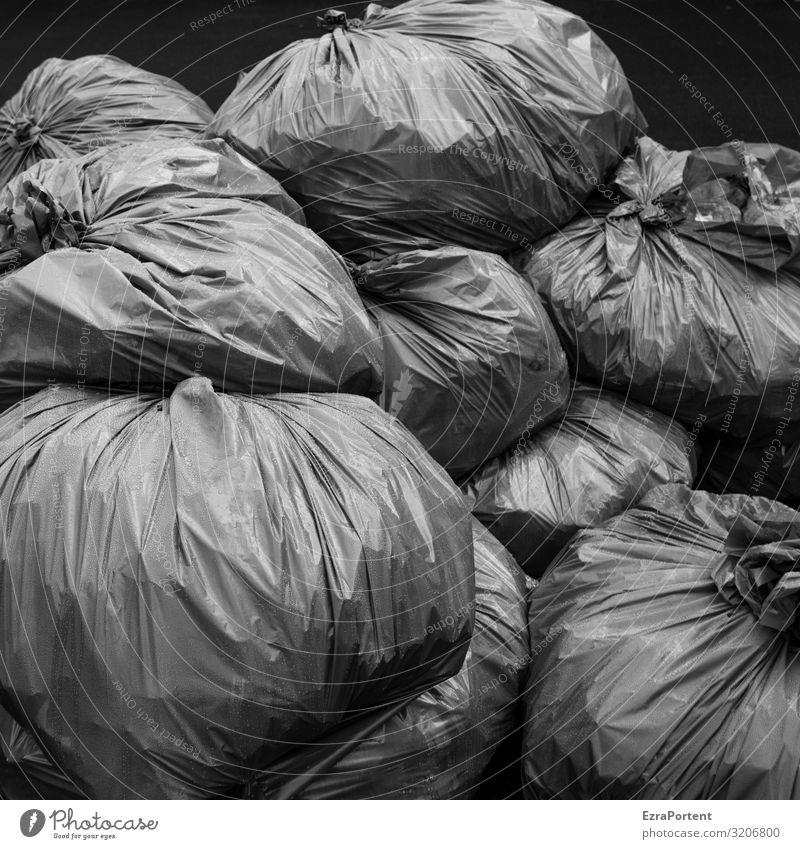 sackig Umwelt Klima Klimawandel grau schwarz Ordnung Umweltverschmutzung Umweltschutz Müll Müllsack Müllentsorgung Müllabfuhr viele nachhaltig verschwenden