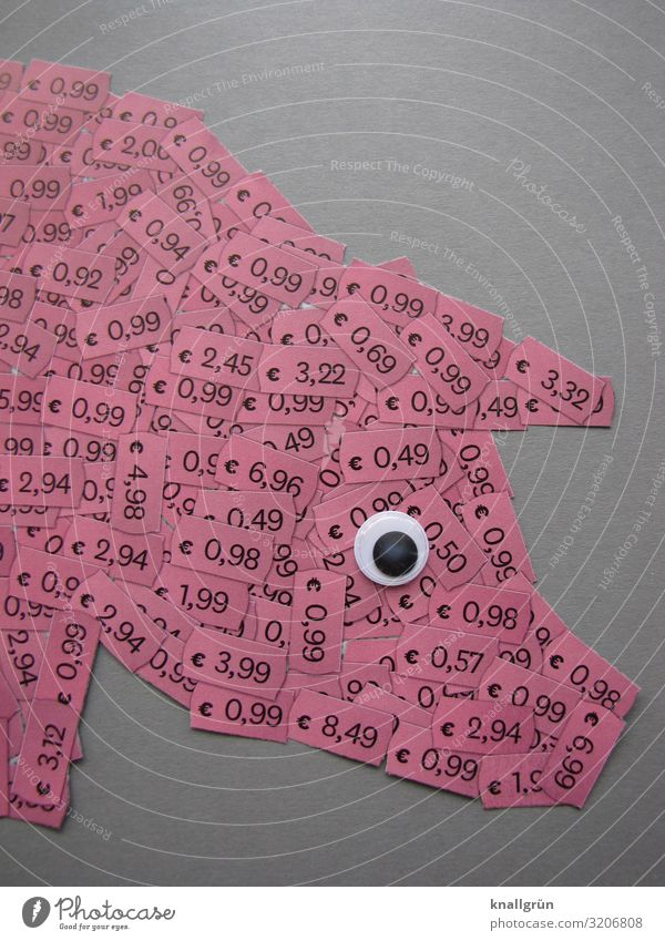 Billigfleisch Nutztier Schwein 1 Tier Kinderaugen Ziffern & Zahlen Schilder & Markierungen Kommunizieren grau rosa schwarz weiß Appetit & Hunger gefräßig