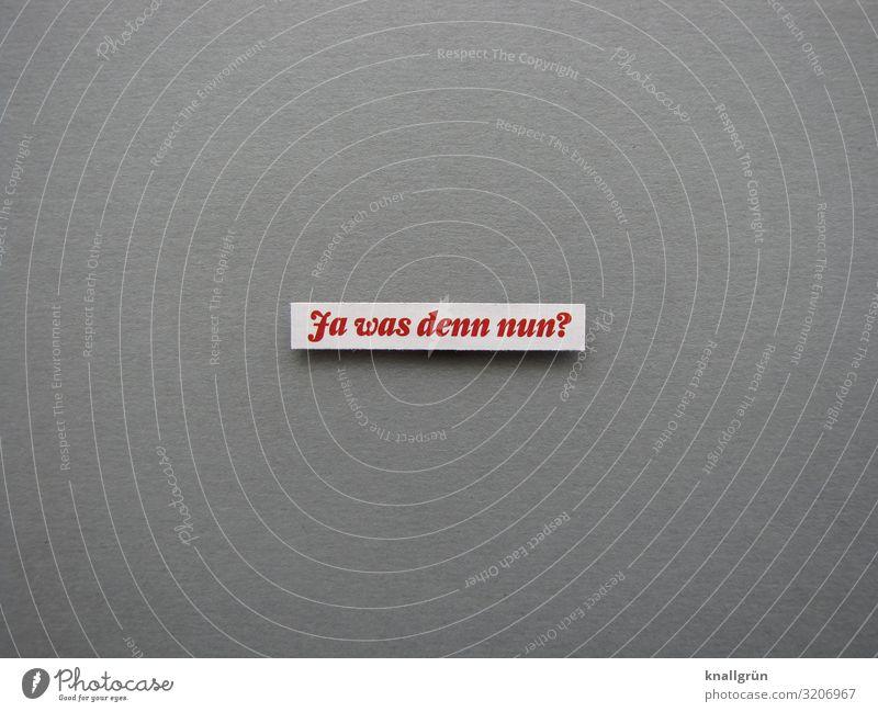 Ja was denn nun? Kommunizieren Fragen Verunsicherung verwirrt Schriftzeichen Wort Satz Buchstaben Sorge Farbfoto Typographie Text Kommunikation