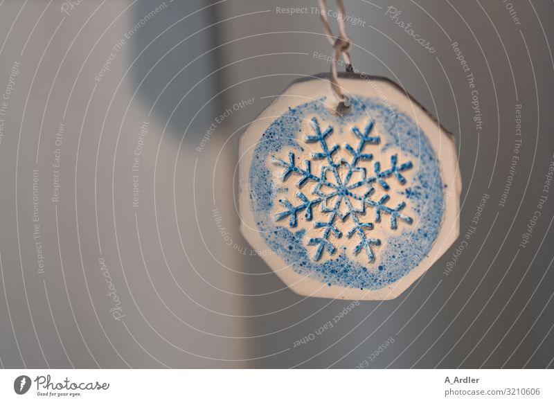 Schneekristall Weihnachten & Advent blau Winter Holz kalt Kunst Mode Schneefall Dekoration & Verzierung Metall Zeichen Symbole & Metaphern Jahreszeiten
