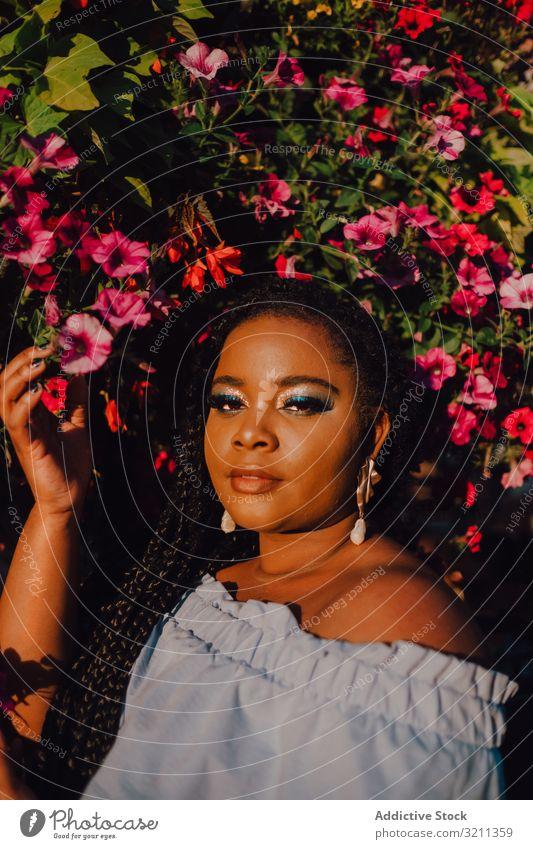 Fröhliche, trendige afroamerikanische Frau, die neben einem blühenden Baum steht trendy blühender Baum freudig stylisch Sonnenschein modern Inhalt attraktiv