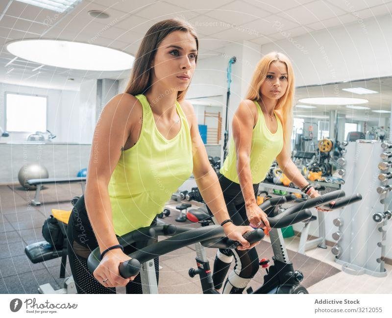 Junge Frauen üben gemeinsam an Maschinen Herz Fitnessstudio Spinning Fahrradfahren modern Athlet Übung Zusammensein Training Sport Team Aufwärmen Kraft jung