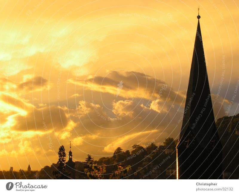 Heidelberg in Öl Kirchturm Sonnenuntergang Stimmung Wolken Ölgemälde Berge u. Gebirge Religion & Glaube Abend