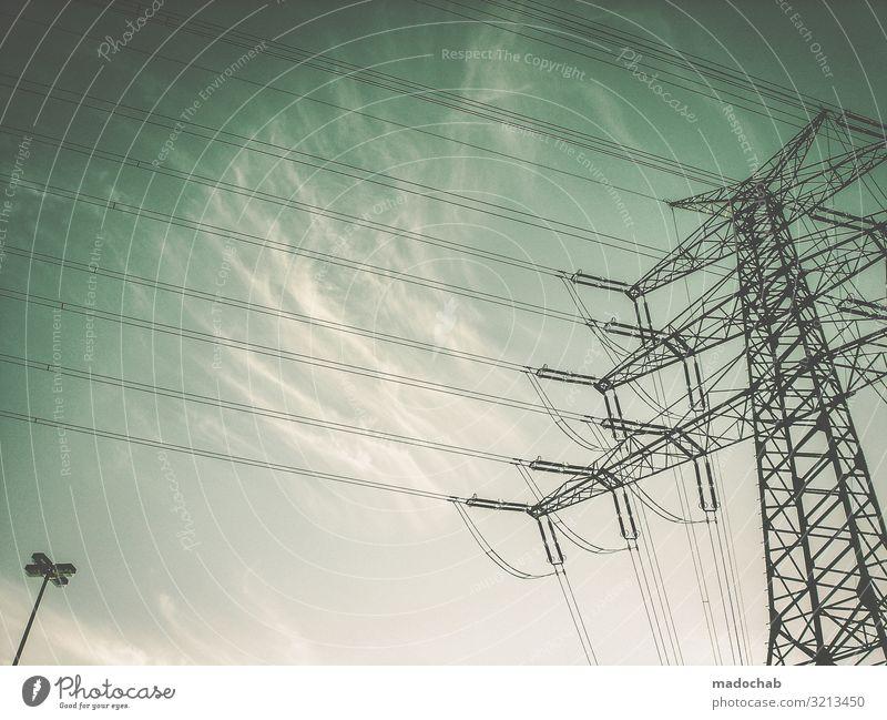 Mächtig Kabel Technik & Technologie Fortschritt Zukunft Energiewirtschaft Erneuerbare Energie Energiekrise Linie hoch oben Kraft Macht Zukunftsangst Hochmut