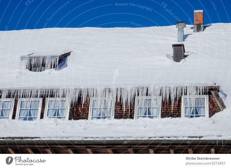Traufnasen Ausflug Schnee Winterurlaub Haus Himmel Wolkenloser Himmel Schönes Wetter Eis Frost Berge u. Gebirge Schwarzwald Dorf Hütte Fenster Dach Dachrinne