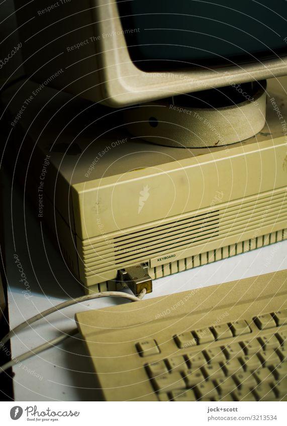 Personal Computer Arbeitsplatz Industrie Wissenschaften Achtziger Jahre Bildschirm Laufwerk Tastatur Kabel Kunststoff authentisch groß nerdig Originalität retro