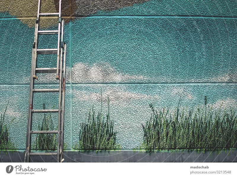 Trueman Natur Landschaft Ferne Graffiti Wand Umwelt Mauer Fassade Dekoration & Verzierung träumen Kultur Idylle Zeichen Sehnsucht Fernweh Gemälde