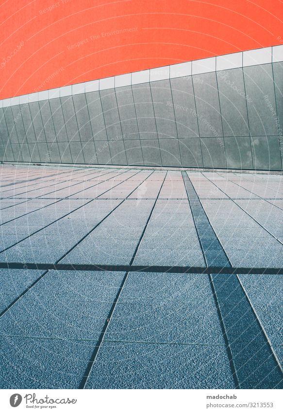 Strukturwandel Mauer Wand Fassade Linie Streifen Einsamkeit Ewigkeit Mittelpunkt Ordnung Perspektive planen Ferne stagnierend Symmetrie Farbfoto Gedeckte Farben