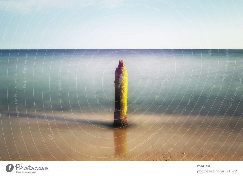 solo sunny Landschaft Sand Himmel Wolkenloser Himmel Horizont Sonne Wetter Schönes Wetter Küste Strand Meer Menschenleer blau braun Solist einzeln letzte Buhne