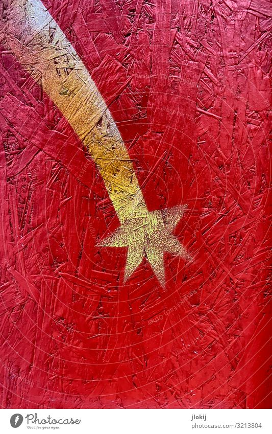 ... mir doch Schnuppe Fassade Dekoration & Verzierung Holz Graffiti gelb gold rot Komet Sternschnuppe Pressspan Farbstoff Weihnachten & Advent gemalt Farbfoto