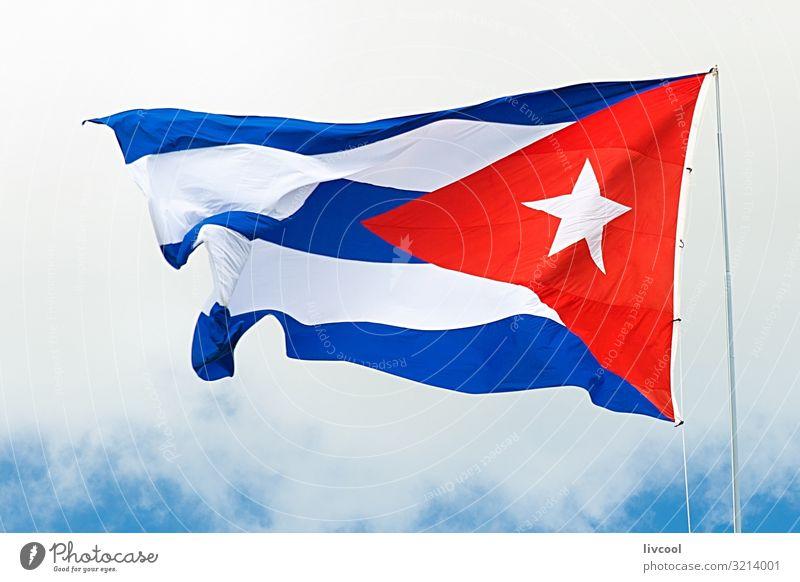 Kubanische Flagge weht unter bewölktem Himmel II Lifestyle Leben Ferien & Urlaub & Reisen Tourismus Ausflug Insel Wolken Platz Straße Zeichen Linie Fahne alt
