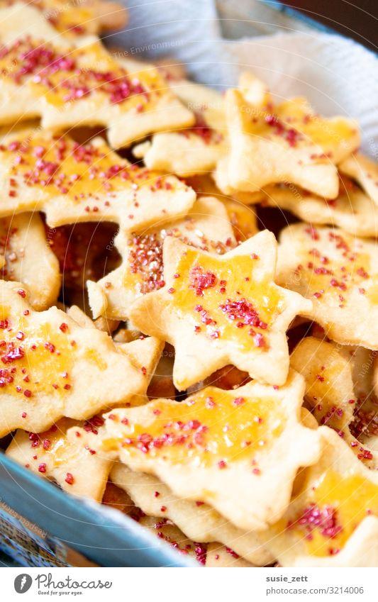 Selbstgemachte Butterplätzchen mit metallic Zuckerstreusel Lebensmittel Teigwaren Backwaren Dessert Süßwaren Ernährung Kaffeetrinken Essen Feste & Feiern