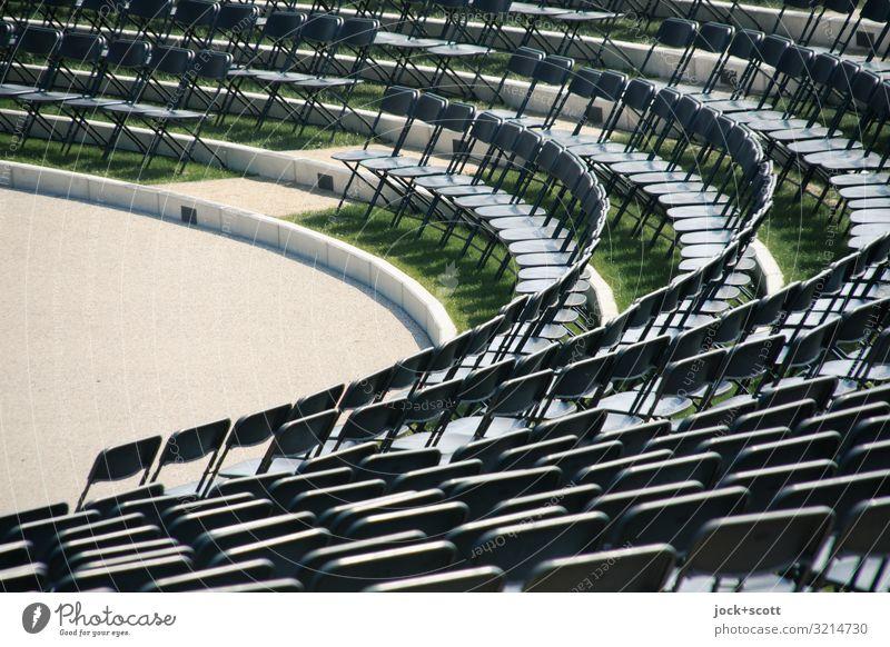 Reihe oder Rang Design Amphitheater Klappstuhl Sitzreihe frei viele Ordnungsliebe Genauigkeit gleich rund übersichtlich abstrakt Strukturen & Formen
