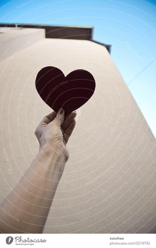 herzliches .. Hand Arme Finger festhalten Herz Silhouette Symbole & Metaphern einfach Haus Aussage danke schön Freude Glück dankbar