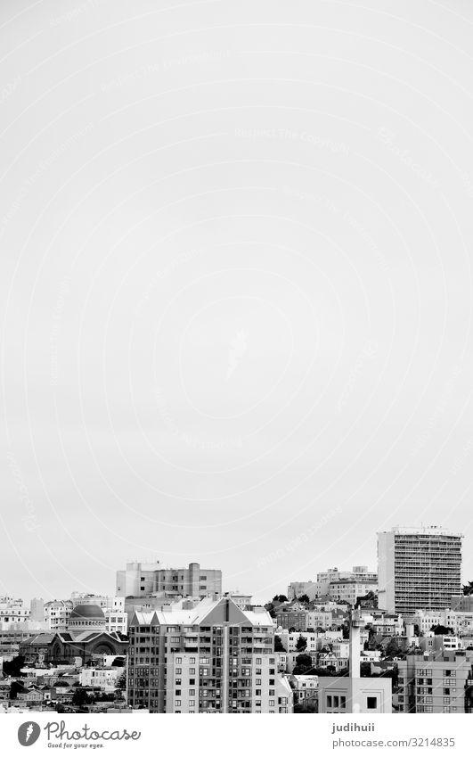 City black and white Reisen San Francisco cityscape Schwarzweißfoto Hochhäuser Fenster Himmel Menschenleer USA Stadt Hochhaus Ferien & Urlaub & Reisen