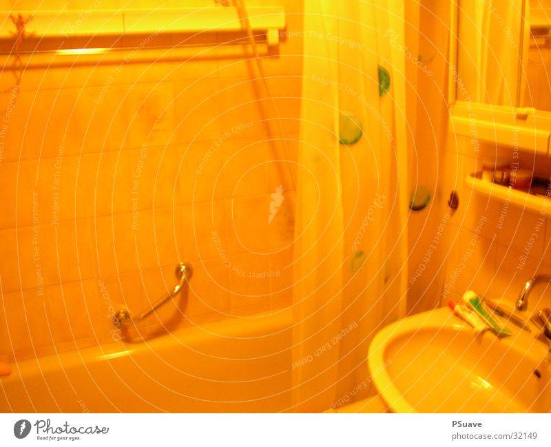 bathrooom Bad Badewanne gelb Duschvorhang Häusliches Leben