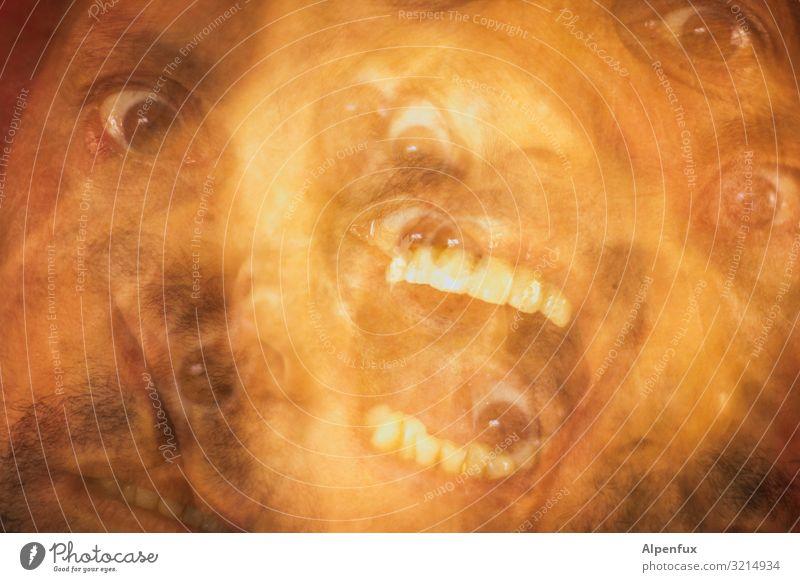 schlechter Montag maskulin Mann Erwachsene Auge Mund 5 Mensch schreien bedrohlich gruselig verrückt Angst Entsetzen Todesangst Höhenangst Flugangst Platzangst