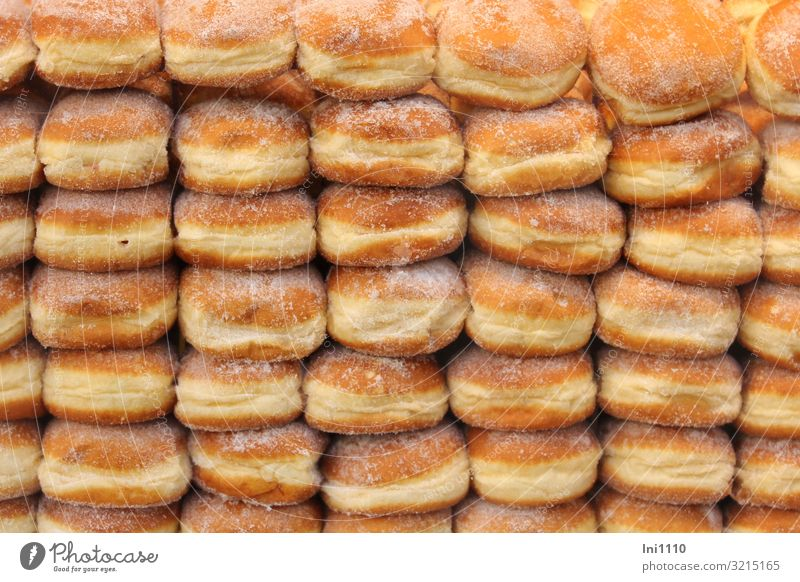 ich liebe Berliner weiß Lebensmittel gelb orange braun süß gold lecker rund Backwaren Süßwaren dick Duft Zucker backen Teigwaren