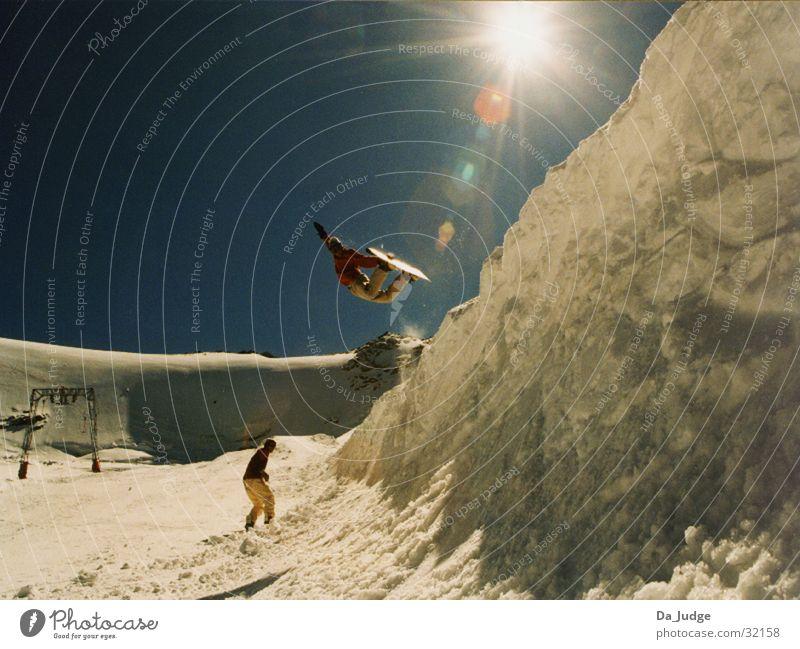 Halfpipeair Winter Sölden Sport Berge u. Gebirge Schnee Air Snowboarder Trick Jump