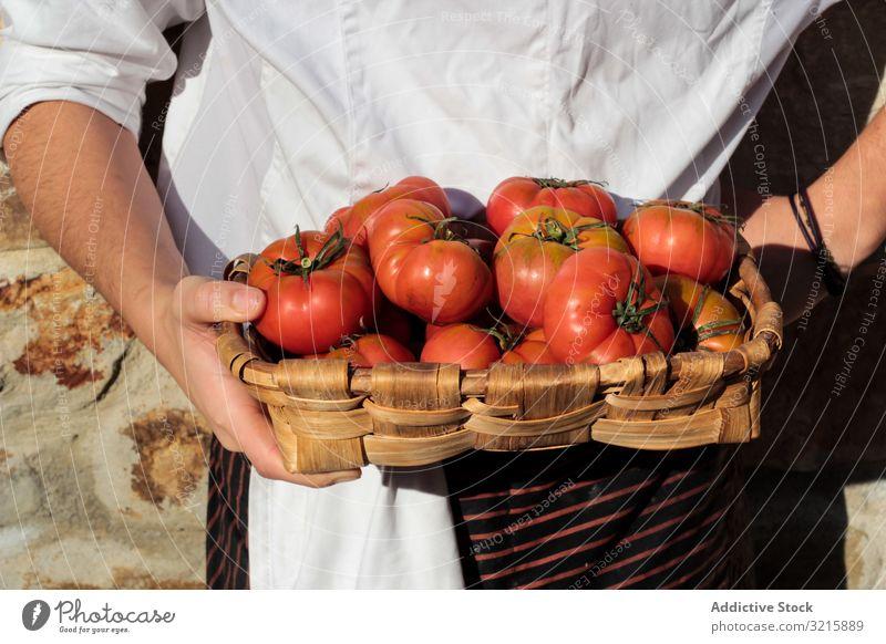 Glänzend reife Tomaten im braunen Weidenkorb Hände Vegetarier Lebensmittel glänzend organisch Gemüse roh frisch natürlich Frische ganz hell saftig Ernte lecker