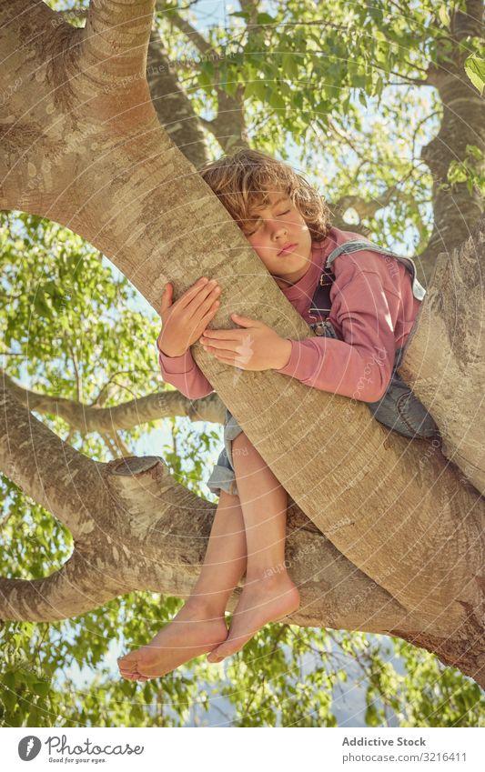 Barfüssiger Junge sitzt auf Baumstamm und umarmt ihn Kofferraum Barfuß freudig Stehen Glück Kind wenig heiter Kindheit Spaß lässig Natur Sommer lustig aktiv