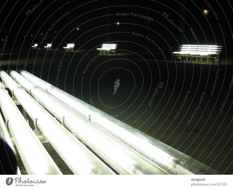 Strahlebänke Park Nacht Licht Bank Laterne obskur Lampe sitzen Wege & Pfade