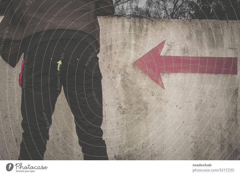 Am Arsch Zeichen Schilder & Markierungen Hinweisschild Warnschild Graffiti Pfeil trendy verrückt Spitze trashig unten Richtung Gesäß Typ Wand Mauer Einfahrt