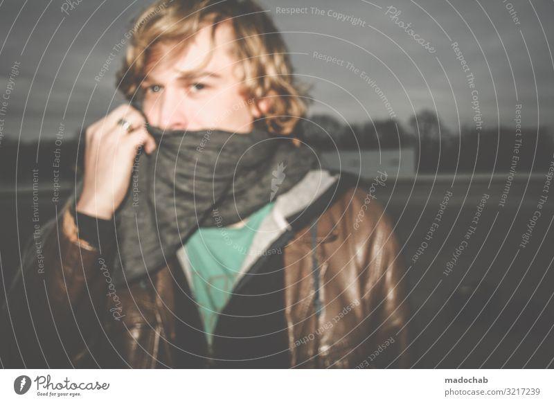 Portrait junger Mann Blick in die Kamera Blickkontakt Lifestyle Stil schön Mensch maskulin Junger Mann Jugendliche Erwachsene 1 Gefühle Stimmung Ehrlichkeit