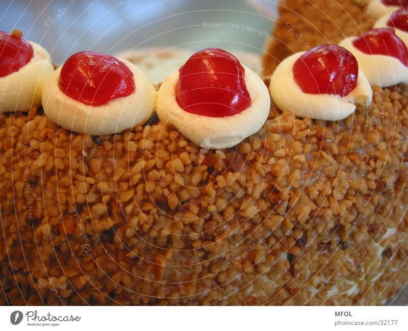 Kuchen rot Ernährung Kaffee nah Kuchen Torte Kirsche Sahne Lebensmittel