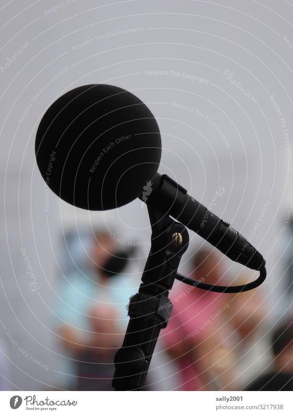 räusper... Unterhaltungselektronik Mikrofon Open Air Musik hören sprechen rund schwarz Kommunizieren live laut Lautstärke Tontechnik Kugelmikrofon Rede Konzert