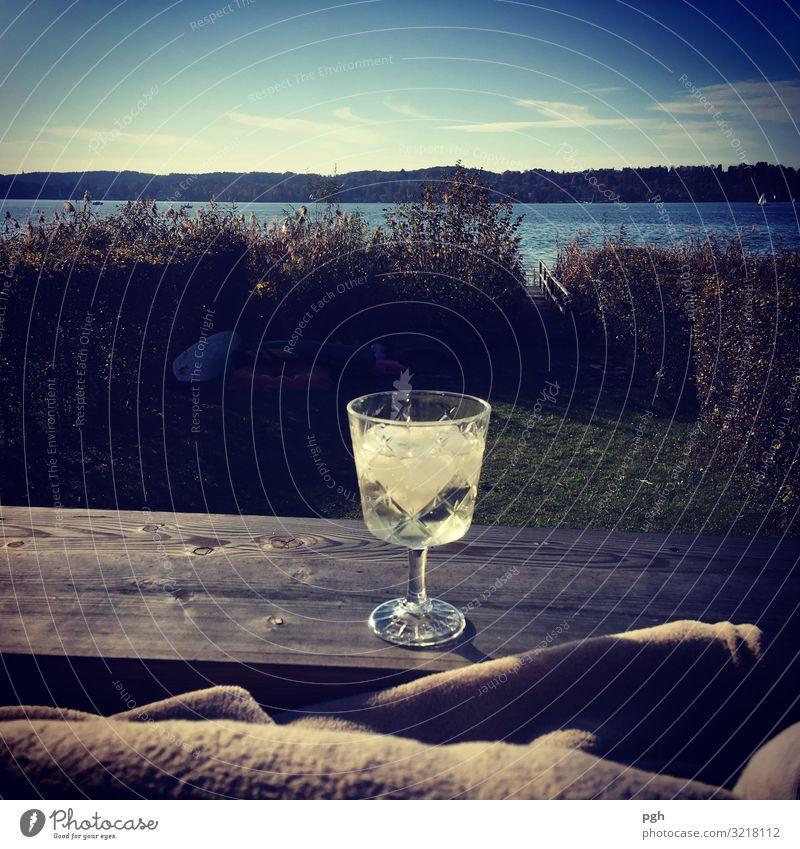 Vino am Lago trinken Erfrischungsgetränk Alkohol Sekt Prosecco Glas Lifestyle Freude Glück Erholung ruhig Schwimmen & Baden Sommer Strand Wasser Sonne