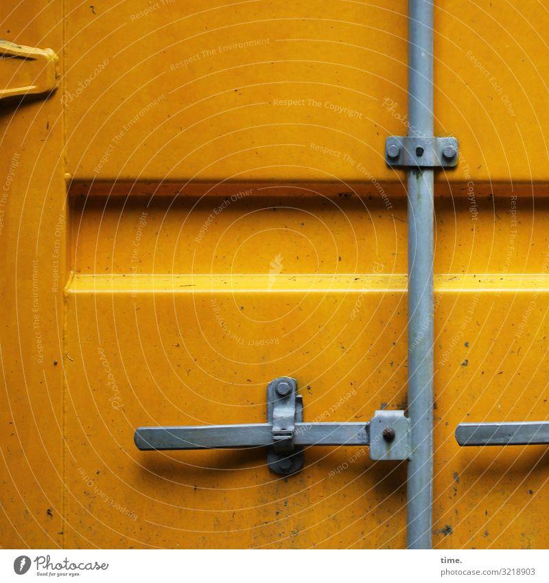 Schließtechnik gelb grau Design Linie Metall Kraft Ordnung geschlossen Baustelle Güterverkehr & Logistik Streifen Zusammenhalt Konzentration