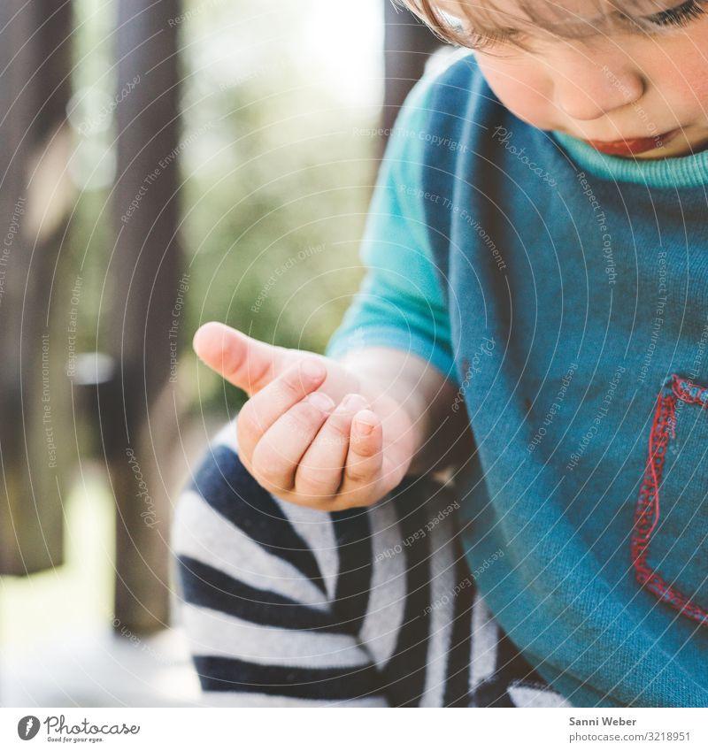 Entdecken Mensch maskulin Kind Kleinkind Junge Kindheit Körper 1 1-3 Jahre Natur Sommer Schönes Wetter Identität entdecken Abenteurer Jungengesicht blau