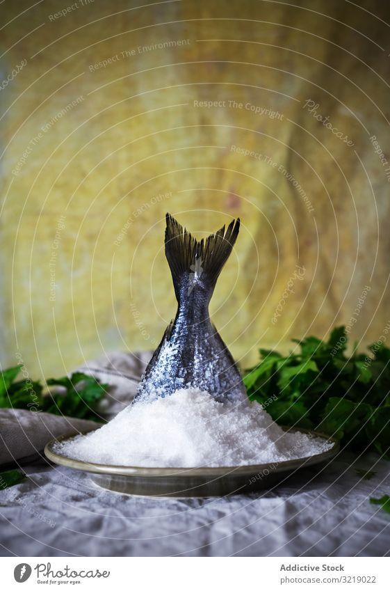 Roher Fisch in Salz in der Nähe von Kräutern roh Petersilie Vorhang Lebensmittel Küche Feinschmecker Rezept Essen zubereiten Meeresfrüchte Mahlzeit Speise