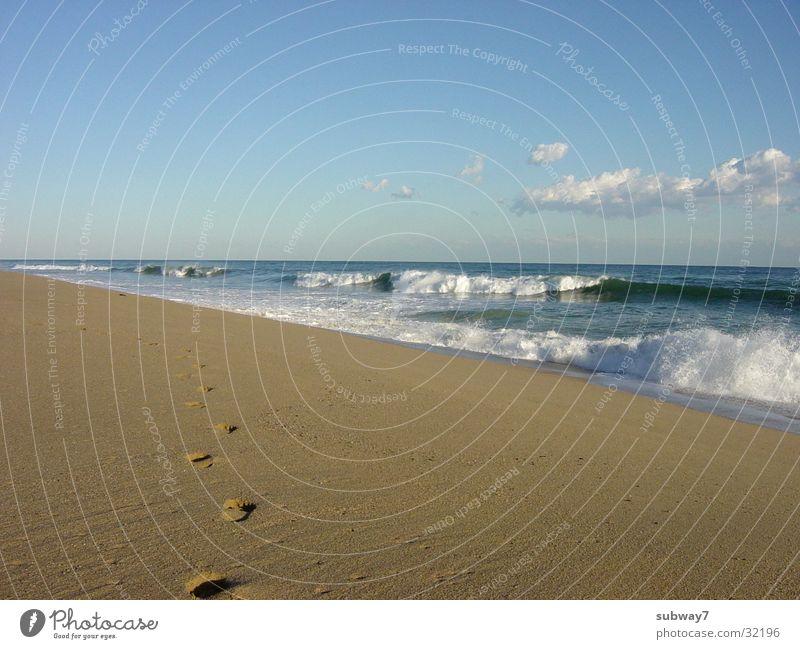 Strandspaziergang Himmel Sonne Meer Sommer Strand Ferien & Urlaub & Reisen ruhig Erholung Sand Wellen Küste wandern gehen Europa Spaziergang Freizeit & Hobby