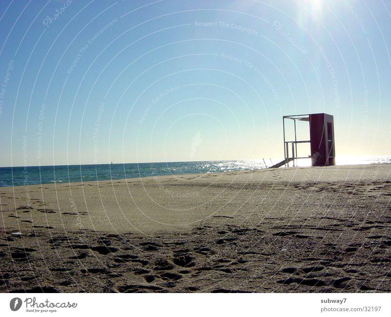 Baywatch Wasser Himmel Sonne Meer Sommer Strand Ferien & Urlaub & Reisen Sand Küste Horizont Europa Hütte Spanien Mittelmeer Rettungsschwimmer
