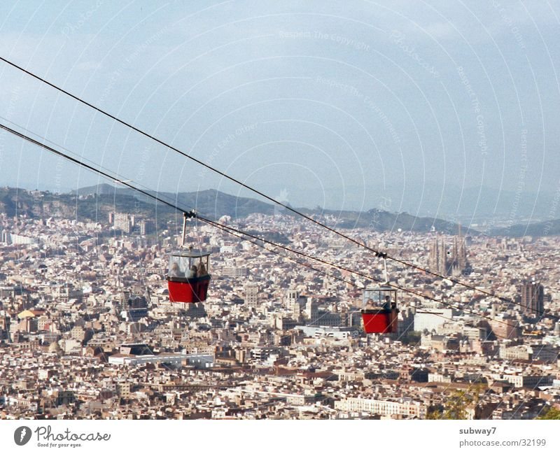 Seilbahn Himmel Stadt Haus Berge u. Gebirge Europa Spanien Barcelona Seilbahn