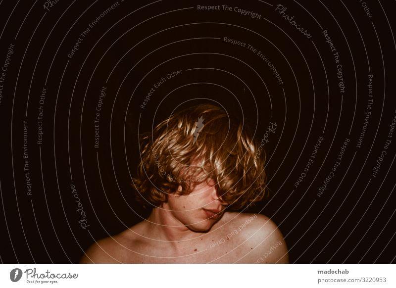 Portrait Mann nackt jung Blickkontakt Mensch maskulin Junger Mann Jugendliche Erwachsene Kopf Haare & Frisuren Gesicht 1 Gefühle Stimmung Traurigkeit Sorge
