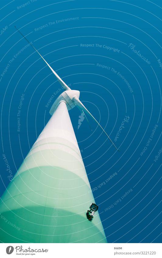 Viel Wind, der lärmt blau weiß Umwelt modern Luft Energiewirtschaft Technik & Technologie Erfolg Zukunft groß Industrie Klima Wandel & Veränderung Sauberkeit