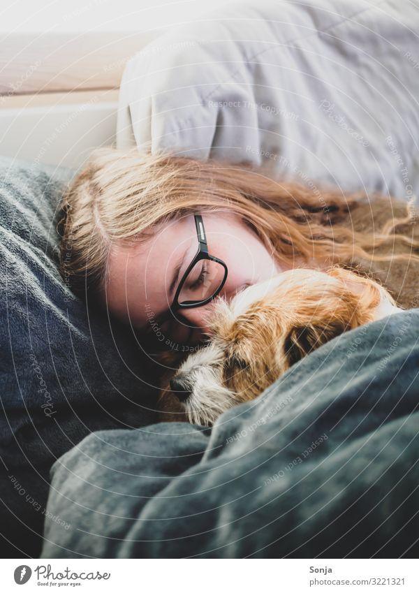 Junge Frau mit kleinen Hund im Bett feminin Jugendliche Leben Kopf 1 Mensch 18-30 Jahre Erwachsene Brille brünett langhaarig Tier Haustier Tiergesicht Bettdecke