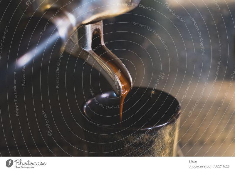 Espressoliebe Kaffee genießen siebträgermaschine Kaffeemaschine Detailaufnahme Nahaufnahme kaffeezubereitung Koffein fließen heiß Duft Café Gastronomie barista