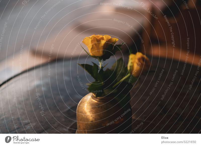 Blumen aufm Tisch Kitsch Rose gelb Vase altehrwürdig Café Dekoration & Verzierung gemütlich Häusliches Leben Floristik wohnlich Farbfoto Gedeckte Farben